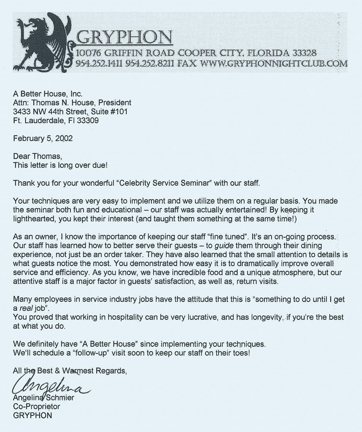 Thank You Letter To Restaurant For Great Service Gallery Letter